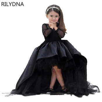 Black Flower Girl Dresses High Low Scoop Long Sleeves Floor Length Satin Tulle Ball Gown Kids Wedding Party Dresses - DISCOUNT ITEM  28% OFF Weddings & Events