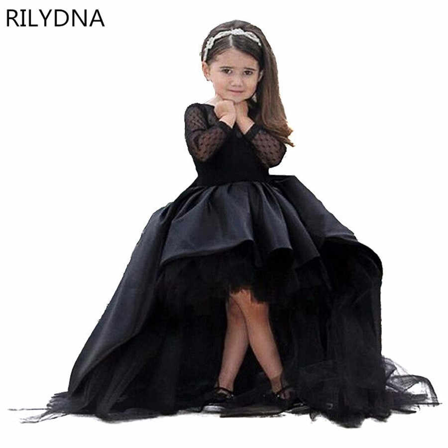 검은 꽃의 소녀 드레스 높은 낮은 특종 긴 소매 바닥 길이 새틴 Tulle 볼 가운 키즈 웨딩 파티 드레스