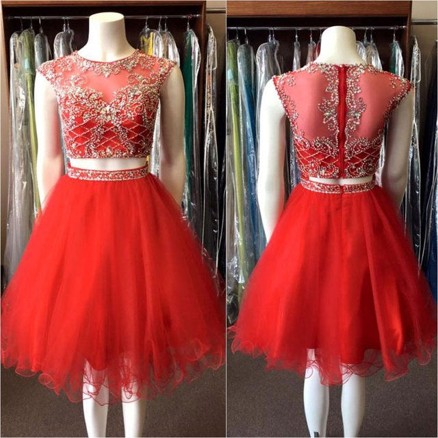 98f3d39f2df Red Sexy Cute Two 2 Pieces Juniors Short Cocktail Party Dresses Knee Length  Beaded Crystals Tulle Sparkly Prom Cocktail Dresses