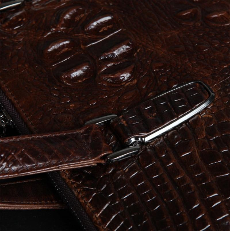De 0121 Pouce Huile Véritable Vintage Mallette Serviette Hommes Vachette 14 Brown Messenger Portable En À Cuir Sac Crocodile Bandoulière cire c4A4tOUP