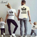2016 Cotton T-shirt For Dad Mon Son Daughter Clothing Mother Father Baby Me Outfits Family Look KING Family Matching Clothes