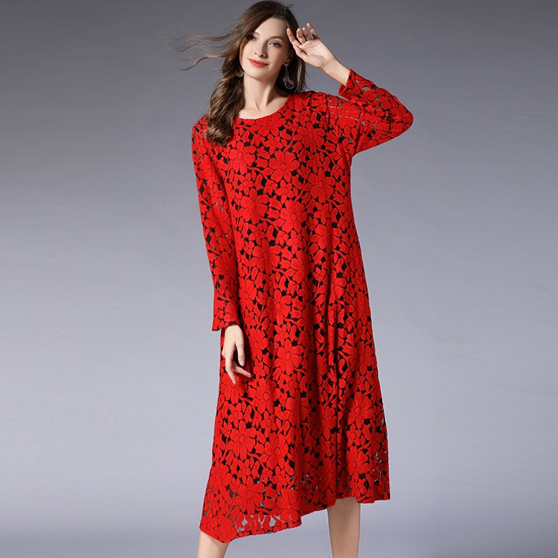 2018 Plus Size Maternity Dresses Vintage Printed Lace Dress Winter Long Sleeve Dress Elegant Pregnant Clothes Pockets XL-4XL plus size bell sleeve mini lace dress with flounce hem