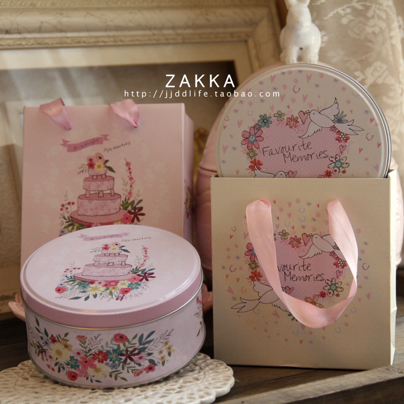 Childlike small Round Cookie box Baby was born Full moon wedding Back to the ceremony Tin box Candy box Cookie Storage Box