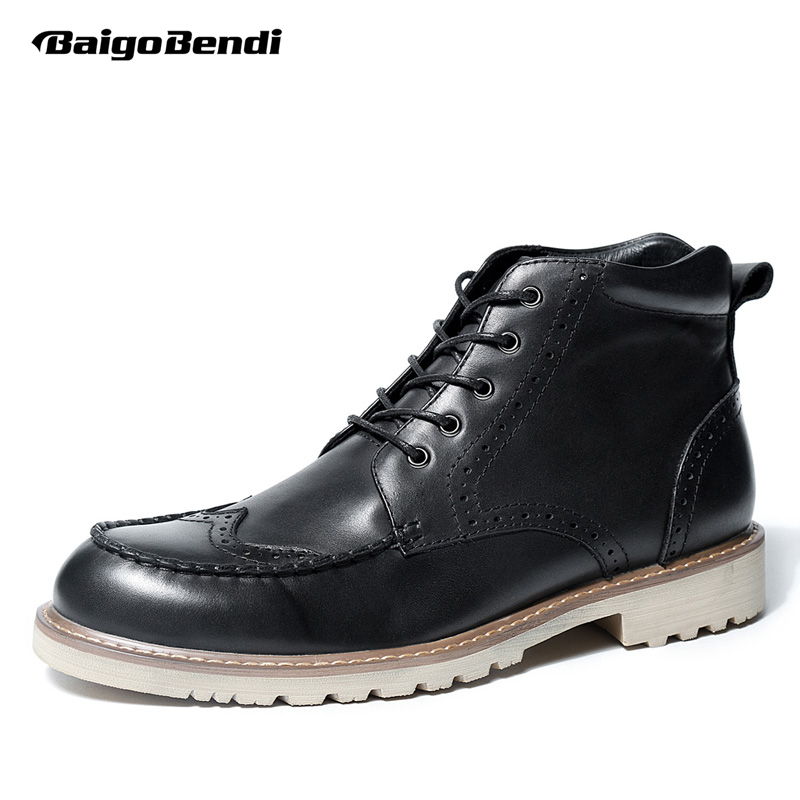 Genuine Leather Mens Fretwork Lace Up Round Toe Wing Tips Brogue Martin Boots Work Safety Soliders Ridding Boots brogue boots two tone