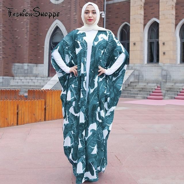 Casual Muslim Abaya Print Maxi Dress Bat Sleeve Long Robe Gowns ...