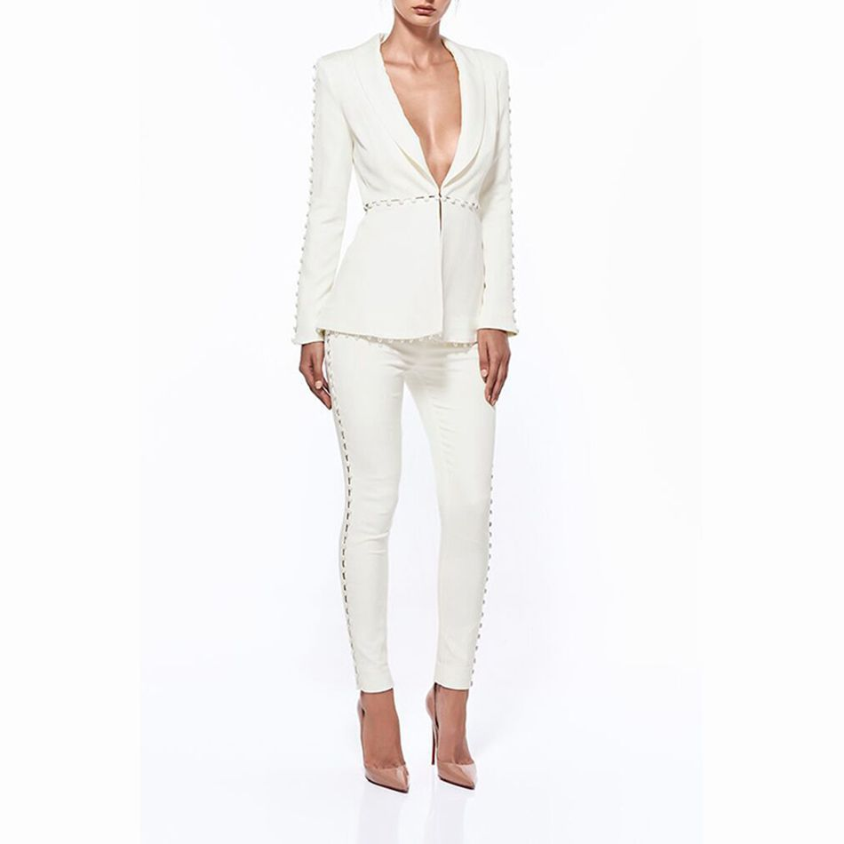 392868b0e65 2018 Newest Spring Women Jumpsuit Celebrity Party White Long Sleeve Turn-down  Collar 2 Two Piece Set Sexy Runway Suit Women