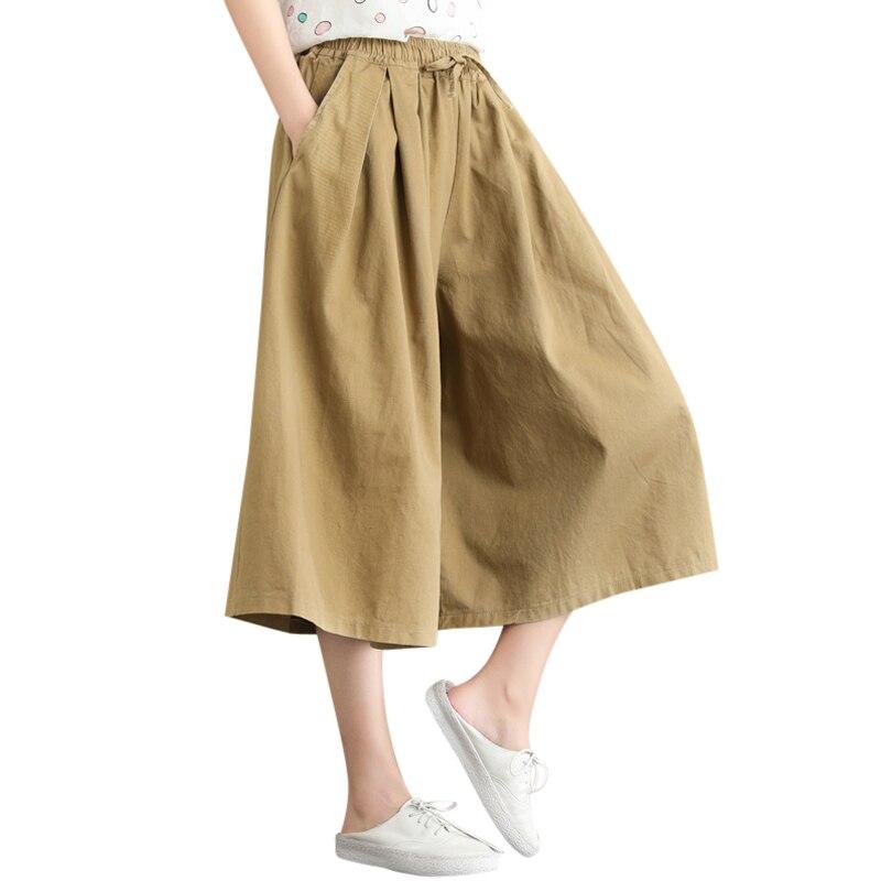 Spring Summer   Pants   For Women Solid Color Capris   Pants   Female 2019 Mid Waist Trousers Ladies Casual Loose   Wide     Leg     Pants