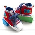 Sapatas de Lona do bebê Tecido Casa Primeiro Walker Sapatos Macios Infantil Calçado Tamanho 6-18 Meses Lace-up Enfant botas Prewalker Sapatos