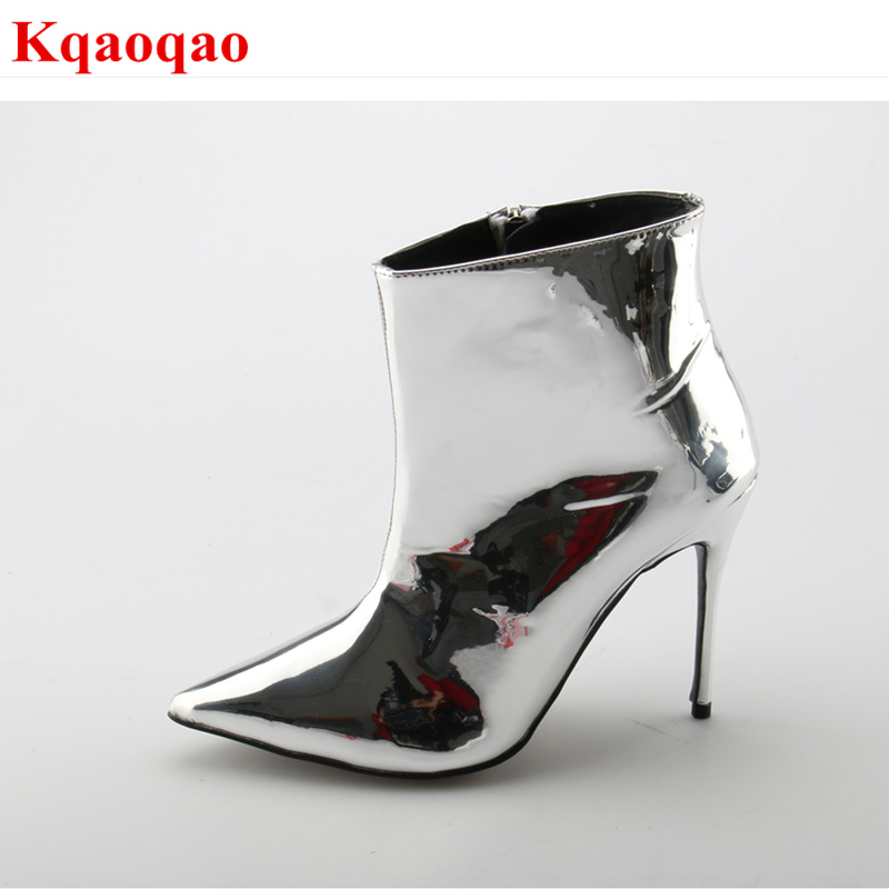 Pointed Toe Silver Women Mid-calf Boots Short Booties Fashion Luxury Brand Star Runway Dress Zippered Shoes Sexy High Thin Heel yanicuding round toe women mid calf boots short booties flower butterfly knot design super star lady runway shoes european style