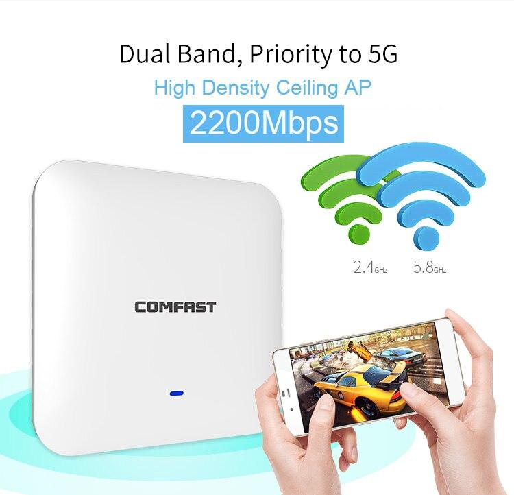 2200 Mbps Gigabit double bande plafond intérieur sans fil Point d'accès WiFi AP répéteur Wifi répéteur répéteur Wifi routeur WiFi