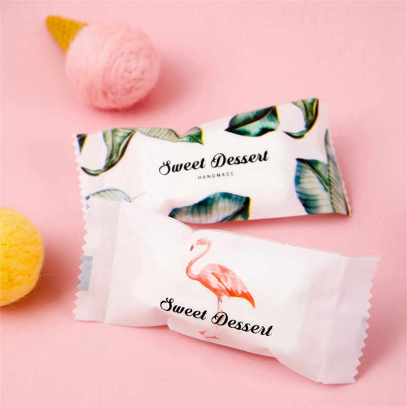 Unicorn Party 50pcs Flamingo/Unicorn Candy Bags Packing Handmade Nougat Candy Bag Wedding Decoration Baby Shower-S