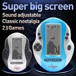 Console enfant grand écran Tetris Console de poche rétro Mega Tetris Console de jeu intégré 23 jeux jouets intellectuels classiques