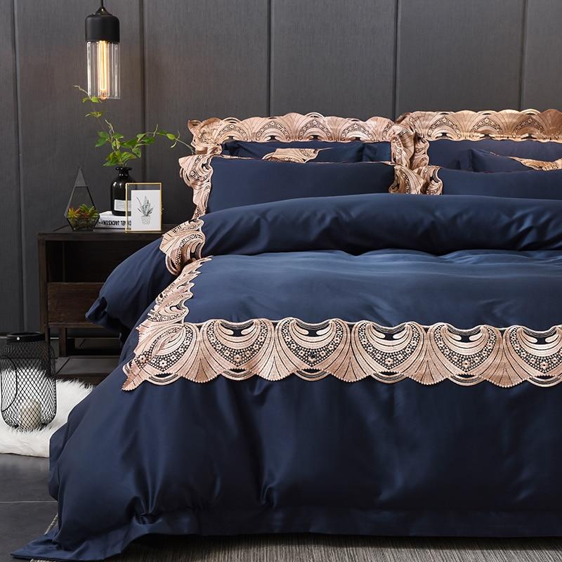 Nuovo negozio offerta speciale RUIYEE marca bedding set jacquard di cotone bianco di lusso copertura del merletto copertura letto biancheria da letto set di grandi dimensioni