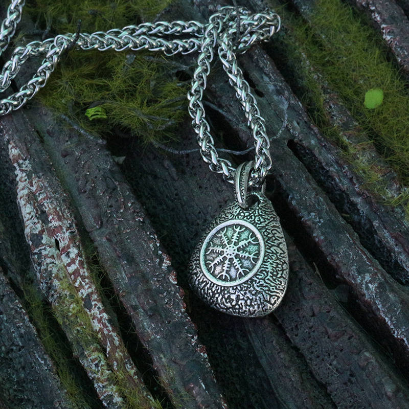 lanseis 1pcs viking odin's symbol of norse runic pendant men necklace Vegvisir Pendant