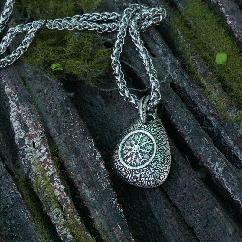 lanseis 1pcs viking odin's symbol of norse runic pendant men necklace Vegvisir Pendant