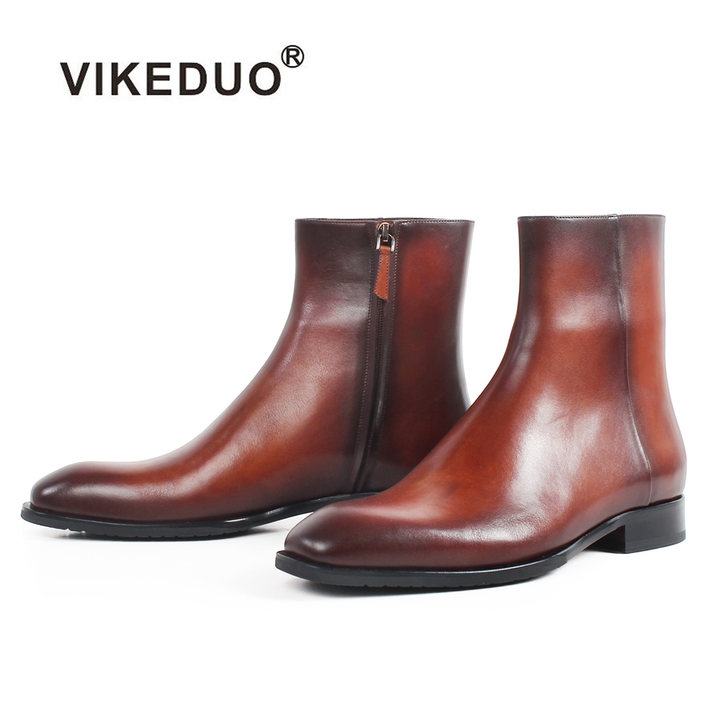 VIKEDUO Square Toe Genuine Cow Leather Men's Ankle Boots Brown Patina Handmade Bespoke Shoes Autumn Military Male Botas Hombre