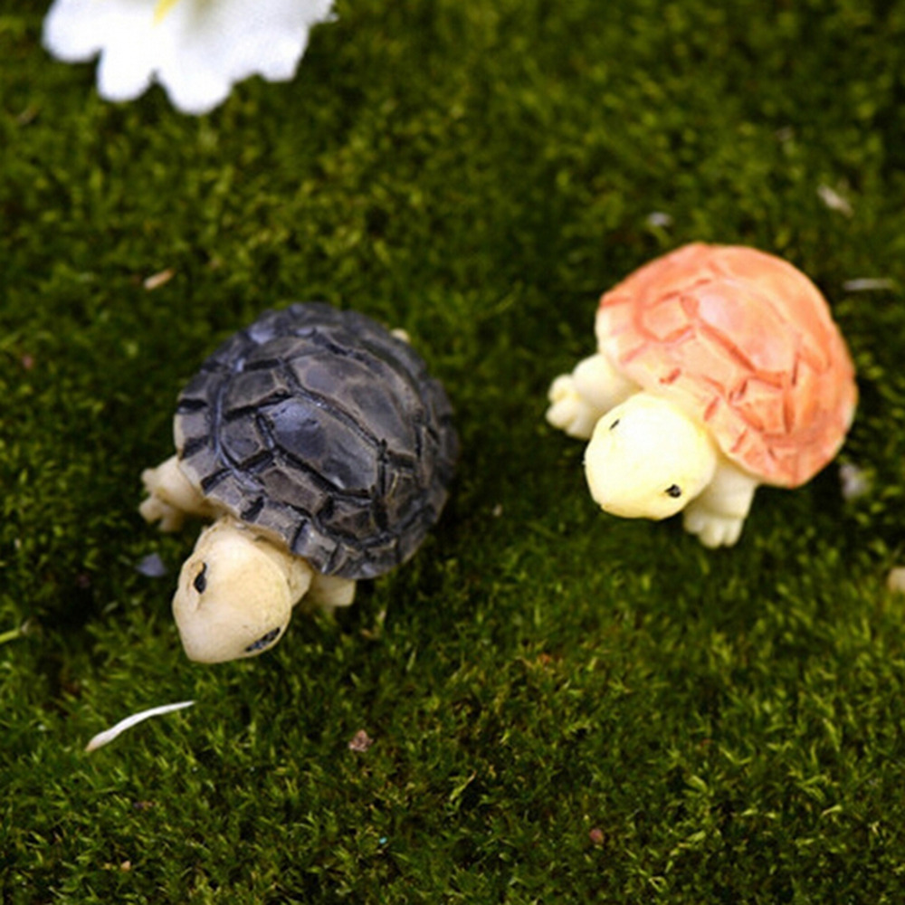 2pcs Tortoise Model For Doll House Fairy Garden Miniatures Terrarium Home Desktop Succulents Micro Landscape Decoration
