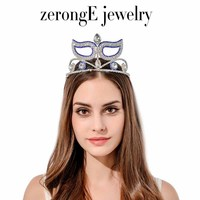zerongE jewelry Austrian Crystal Halloween Masquerade tiara silver royal blue Rhinestone Mask crown tiaras for lady