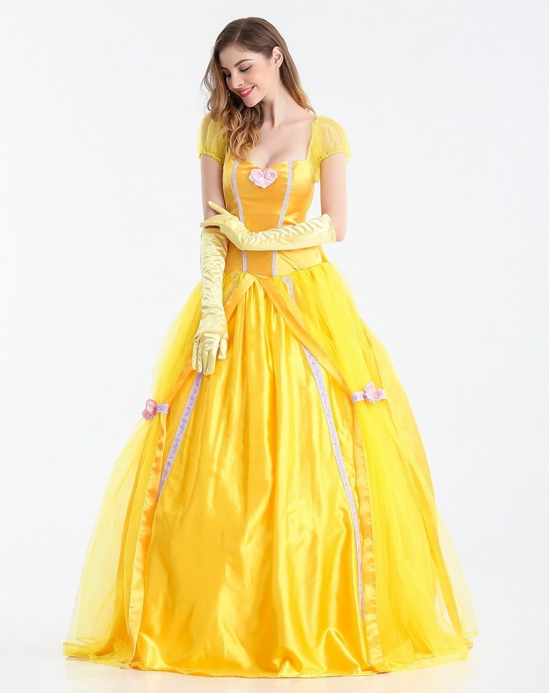 Beauty and the Beast Belle Adult Princess Dress With Gloves Cosplay Costume Halloween Fancy Party Long Formal Dress