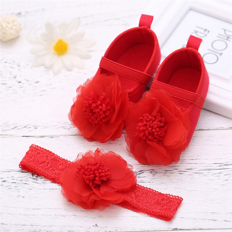 Baby Girls Shoes With Hairband Lace Flower Baby Shoes Headband Soft Sole Crib Shoes First Walkers Infant Princess Shoes