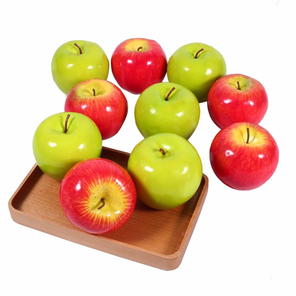 10pcs Set Green Artificial Fake Apples Fruit Lifelike Kitchen Display Home Food Decor China