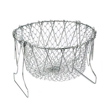 Stainless Steel Expandable Fry Chef Basket Kitchen Colander Magic Mesh Basket Strainer Net Cooking Steam Rinse Strain Basket