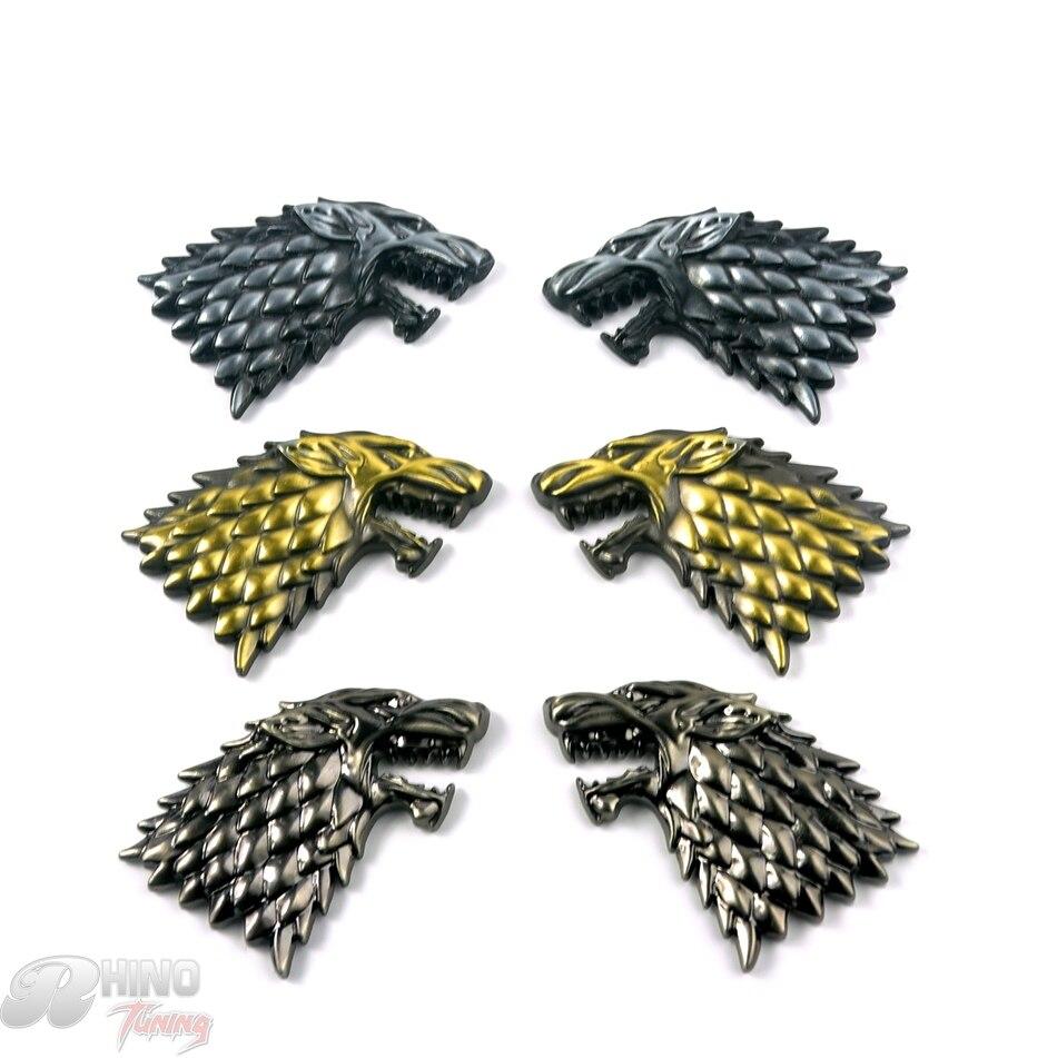 Game of Thrones House Stark Direwolf Family Totem Metal Car Badge Emblem Sticker Fit Silverado F-Series Escape 20498