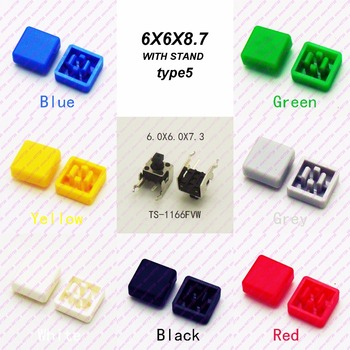 10 sztuk 6X6X7 3 MM z czapka Dia 8mm poziome chwilowy takt przycisk Top plac głowy taktyczne klucze przełącznik mini przycisk tanie i dobre opinie Przełączniki Przełącznik Wciskany ROHS TS-1166FVW Horizontal 1year