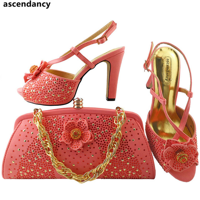 C Color Italian Shoes And Bags To Match With Bag Set New Women Wedding