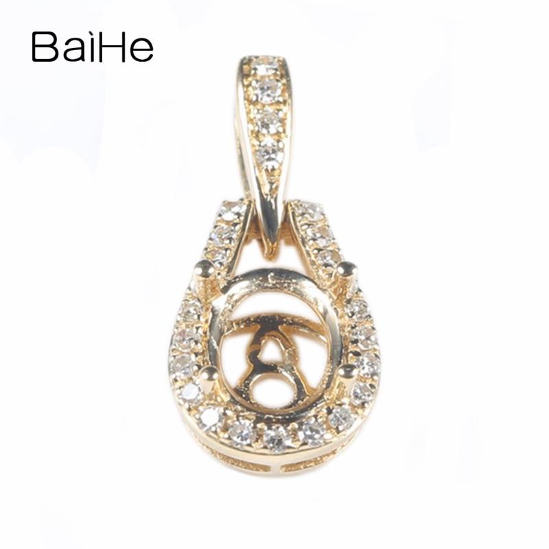 Solide 14 k or jaune diamants naturels fête femmes pendentif 5x7mm taille ovale Semi mont bijoux fins