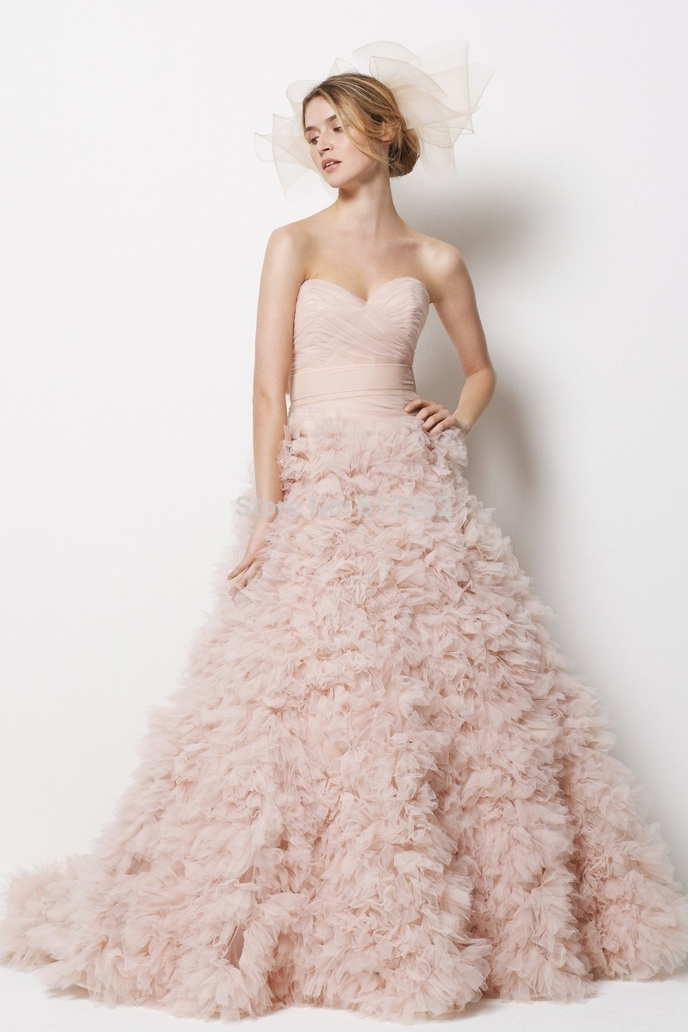 Strapless Sweetheart Ball Gown Ruffles Skirt Low Back Blush Colored ...
