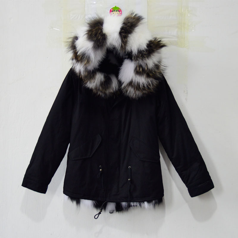 Fashionable Comfortable wither outwear white and black real fox ...