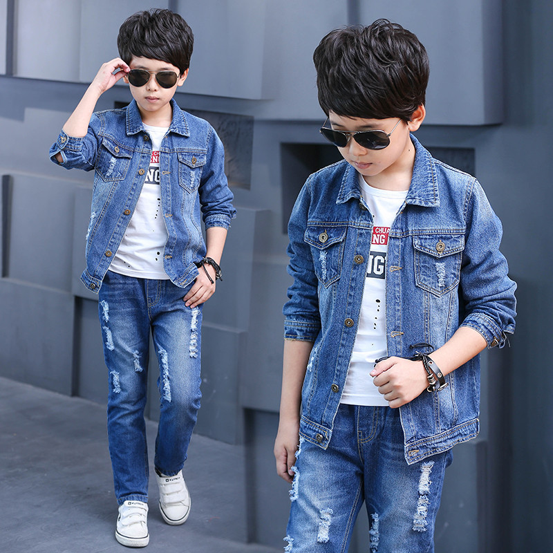 New 2017 Retail Children Set UK Flag Print Fashion Suit Boys Jeans Sets Denim Jacket+Jeans Pants 2pcs Kid Spring Summer Clothing