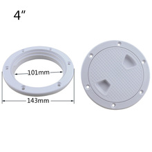 4″ Deck White Plastic Round Inspection Access Hatch cover Tight Screw out Anti-corrosive Deck Plate for Boat Yacht Marine Access