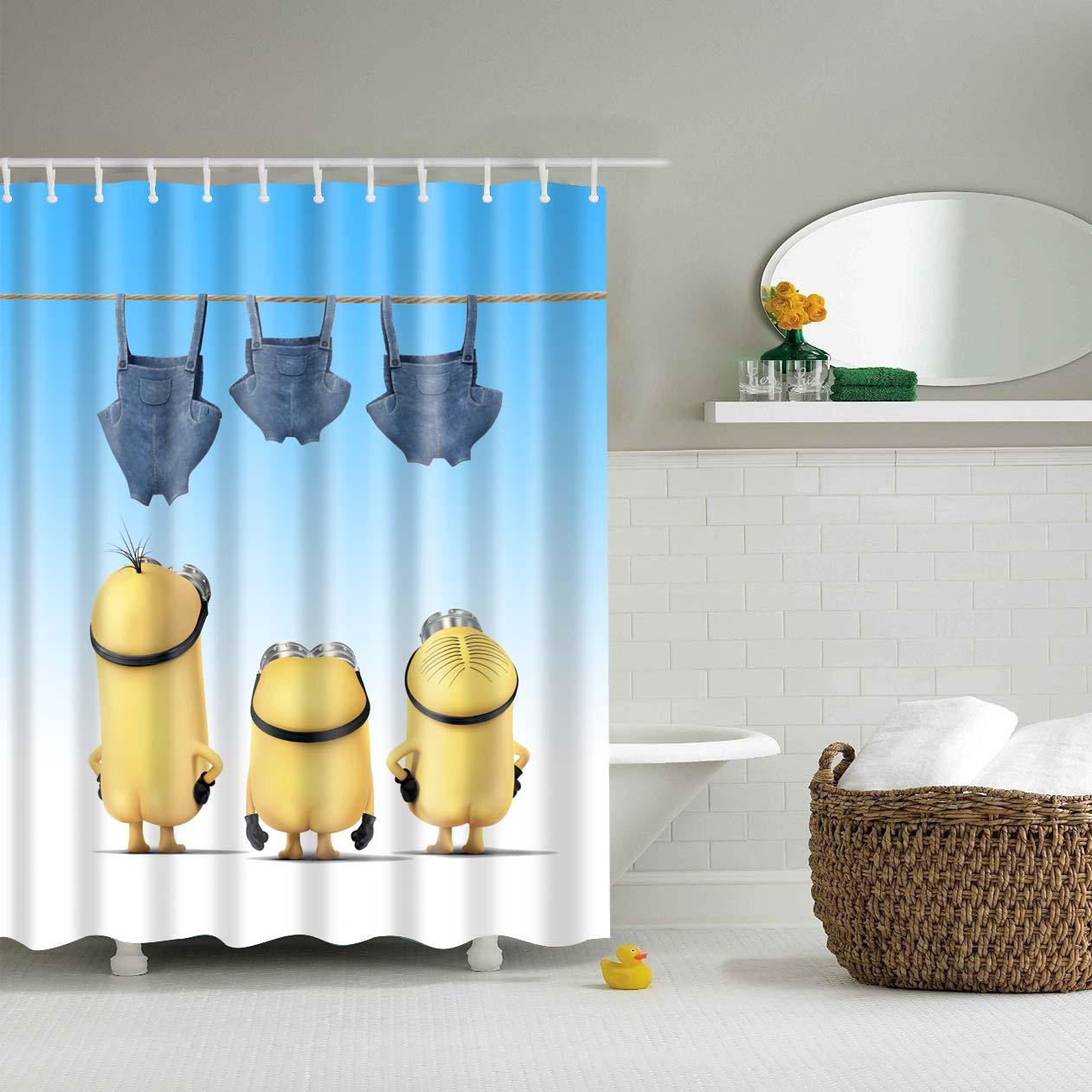Waterproof Polyester Fabric 3D Cartoon Bathroom Shower Curtains Yellow Minions Blackout Bathroom Curtains Long 180X200cm