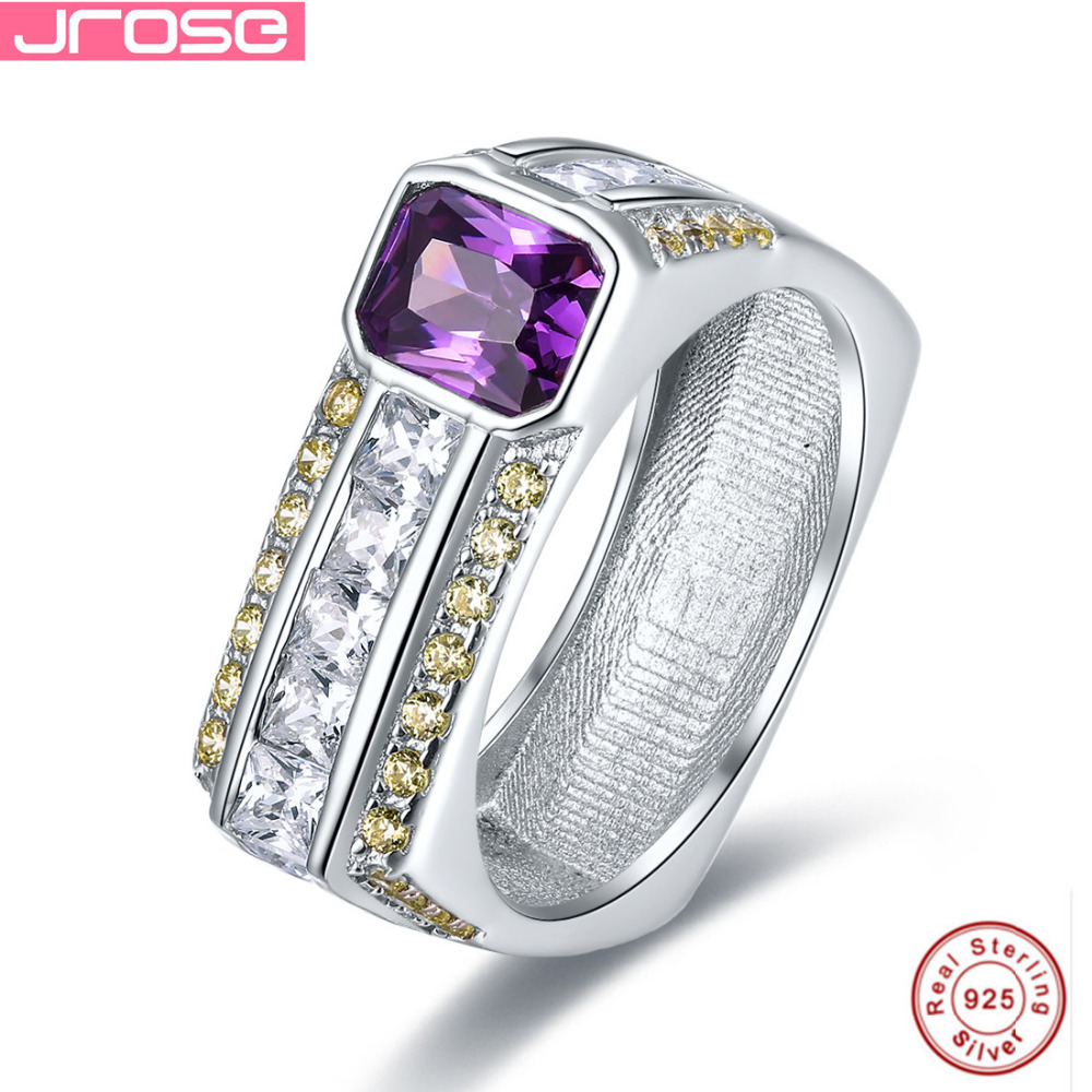Jrose Venda Violeta 100% 925 Anel de Prata Esterlina Jóias Vintage Roxo Mulheres de Casamento Anéis de Noivado Incrível Com caixa de Presente