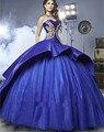 DK Nupcial de Luxo de Nova Chegada Azul Royal de Cetim Quinceanera Vestidos Tribunal Trem de Ouro Apliiques Doce 16 Vestidos de Baile