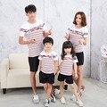 Familia ropa de rayas a juego de manga corta t-shirt de ocio coreano traje de madre e hija vestidos ropa