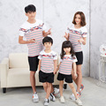 Korean family matching clothes striped short sleeve t-shirt leisure suit mother daughter dresses clothes
