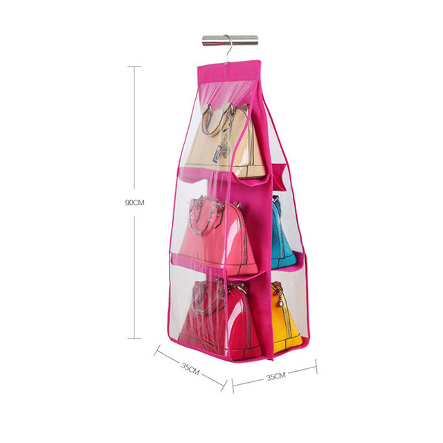 PVC Storage Bag 6 Pockets Organizador Hanging Bags Closet Organizer Wardrobe Rack Hangers Holder For Fashion  sc 1 st  AliExpress.com & PVC Storage Bag 6 Pockets Organizador Hanging Bags Closet ...