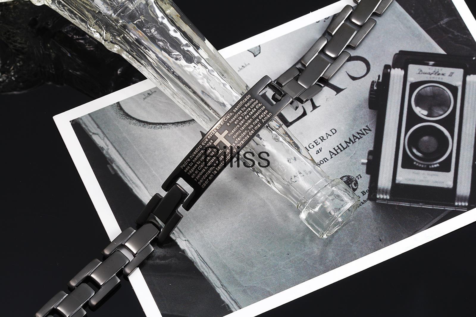 Fashion Men Jewelry New Mens Lords Prayer Cross Black Plated Stainless Steel Link Bracelet pulseira homens