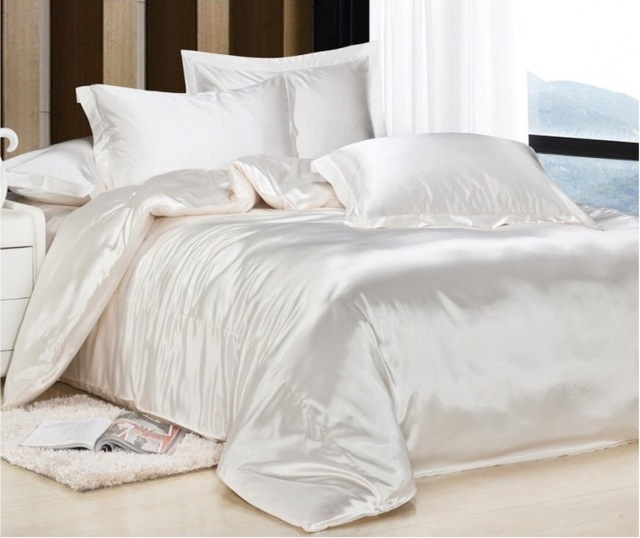 acheter de luxe lait blanc satin de soie bed sheet set housse de couette h tel. Black Bedroom Furniture Sets. Home Design Ideas