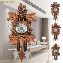2018 Newest Cuckoo Wall Clock Bird Alarm Wood Hanging Time for Home Restaurant Unicorn Decoration Art Vintage Swing