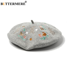 BUTTERMERE Flower Embroidery Wool Beret Hat Women French Vintage Female Gray 2019 Autumn Winter Woolen Korean Ladies