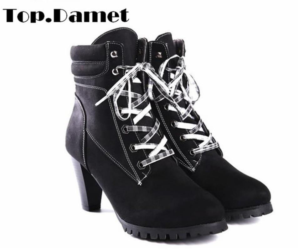 Top. Damet femmes printemps automne hiver talon Chunky bout rond à lacets cheville chaussures en polyuréthane courtes mode plate-forme bottes femme grande taille