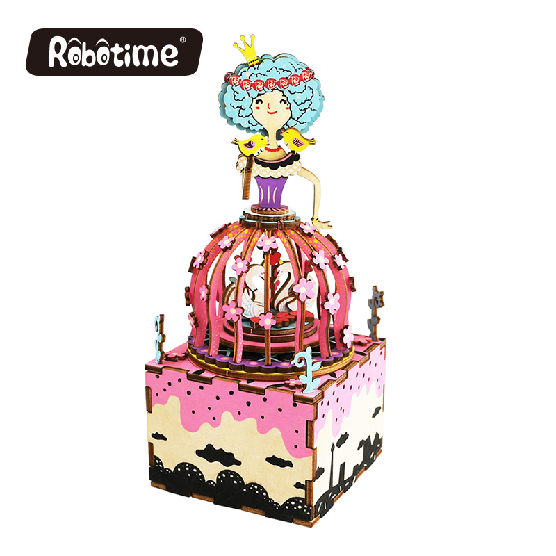 Free Shipping Robotime 3D Puzzle DIY Windup Assembled Model Wooden Car Interior Wedding return gift <font><b>Music</b></font> Box Princess AM405