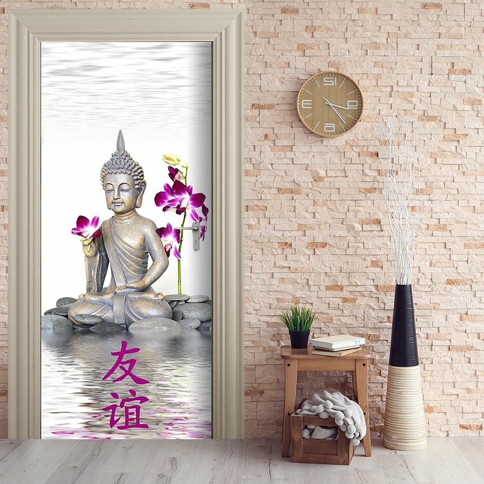 Waterproof Art Home Decor Decal Buddha Flower PVC Door 3D Print Sticker Self Adhesive Diy Paper For Bedroom Sticker