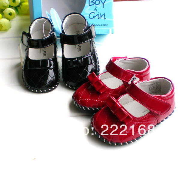 2017 OMN red black Patent Genuine Leather Baby Girls First Walkers spring autumn children toddler shoes princess bow dress shoes