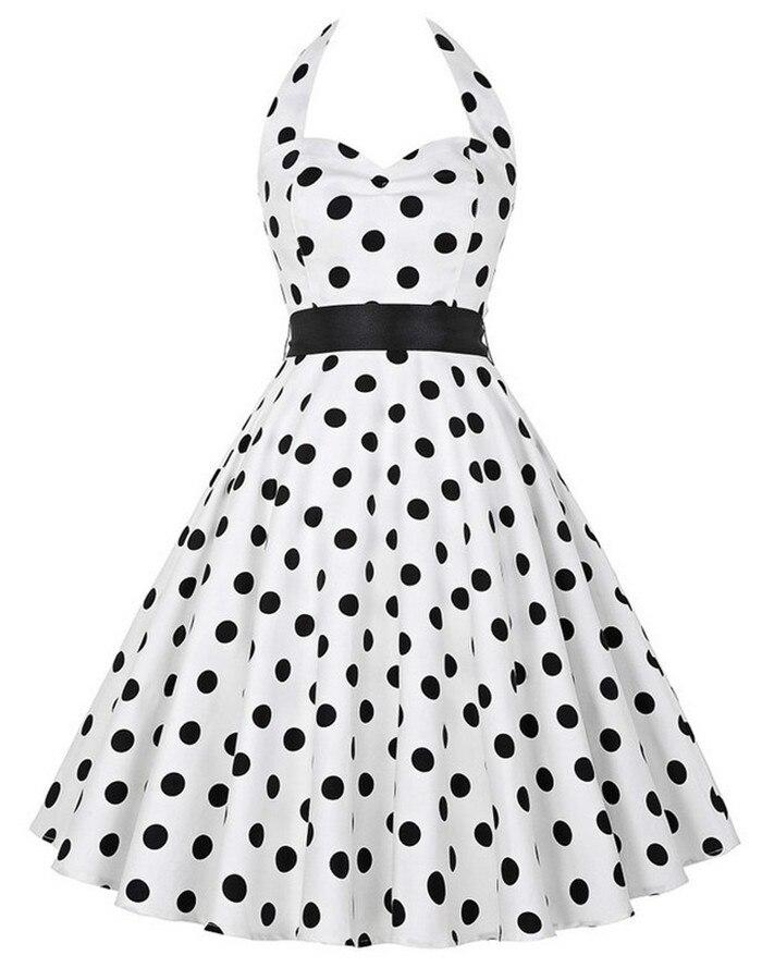 2018 brand womens summer style dresses 50s 60s robe vintage retro vestidos pin up swing polka dot rockabilly dress vestidos in dresses from women s clothing