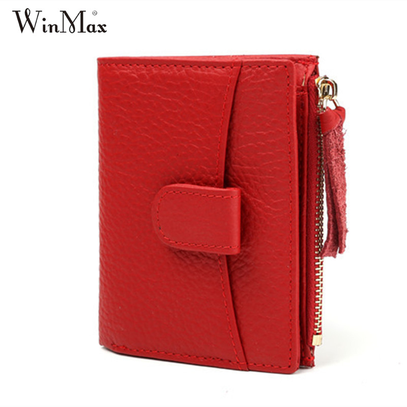 Winmax 2017 ladies fashion wallet women cowhide split leather clutch small coin purse zipper thin cash pocket card holder wallet